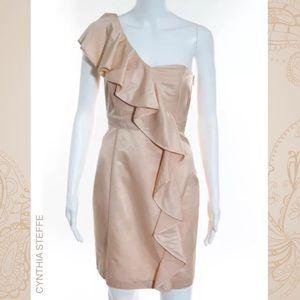 CYNTHIA STEFFE Champagne Ruffle 1-Shoulder Dress